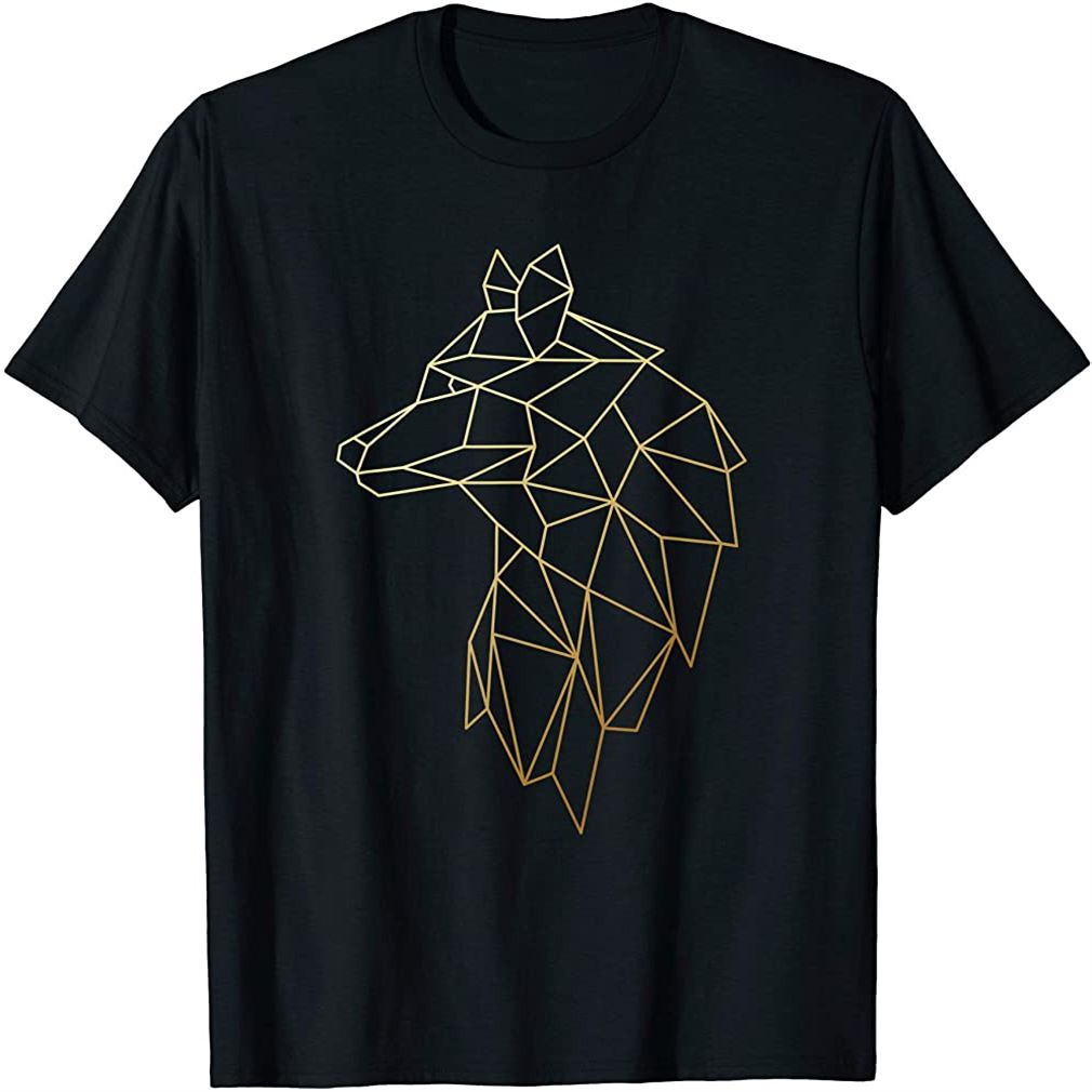 Wolf Shirt Geometric Abstract Gold Wolf Polygonal T-shirt Plus Size Up To 5xl