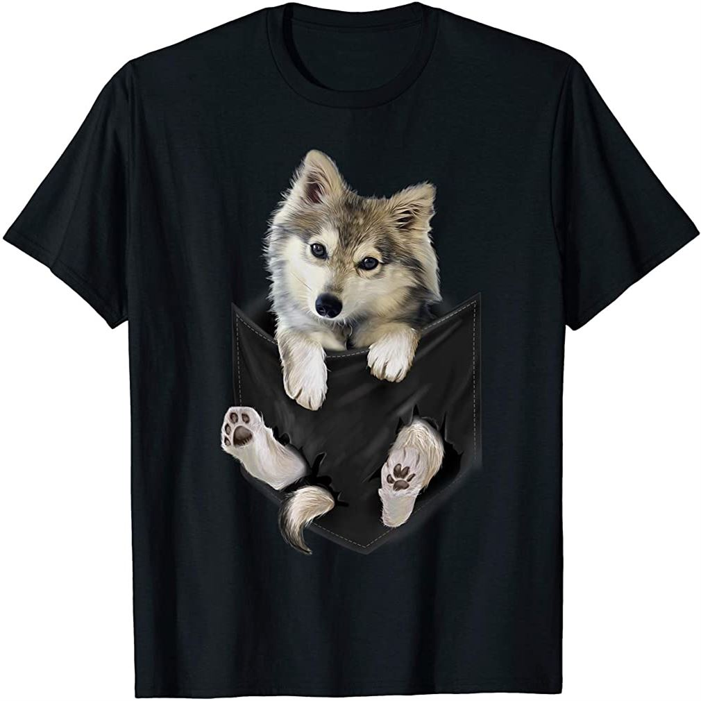 Wolf White Pup In Pocket T-shirt Wolves Tee Shirt Gifts Plus Size Up To 5xl