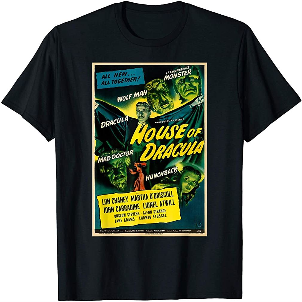 Wolfman Dracula Retro Halloween Monster Poster Horror Movie T-shirt Size Up To 5xl