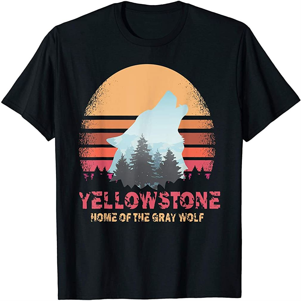 Yellowstone National Park Gray Wolf T Shirt Vintage Sunset Size Up To 5xl