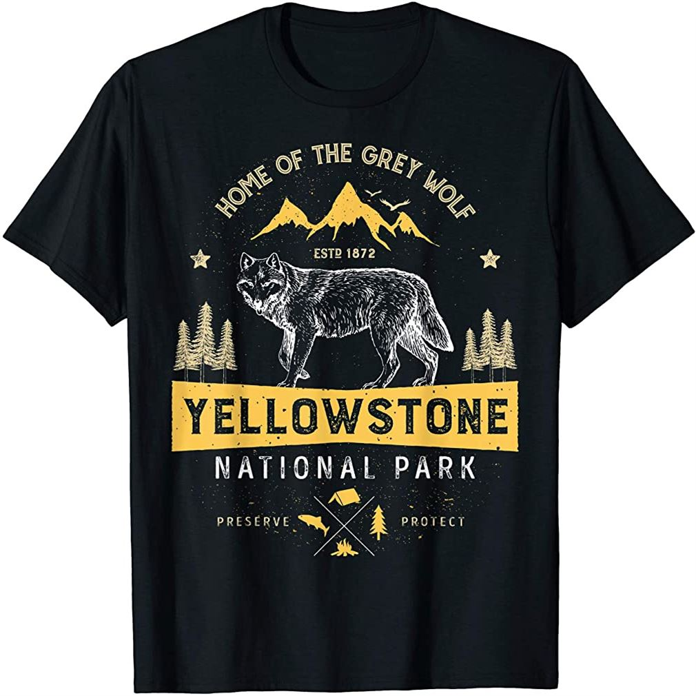 Yellowstone National Park T Shirt Us Wolf Vintage Men Women Size Up To 5xl
