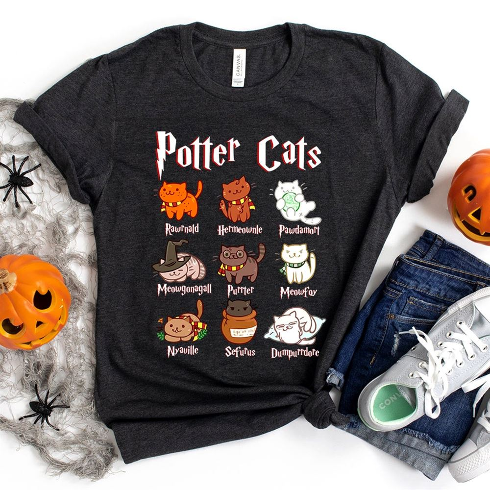 Potter Cats T-shirt Cat Halloween Hogwarts Shirt Cat Meme Shirt Cat Parody Cat Lovers Hoodie Long Sleeve Unisex Tanktop Bella Canvas