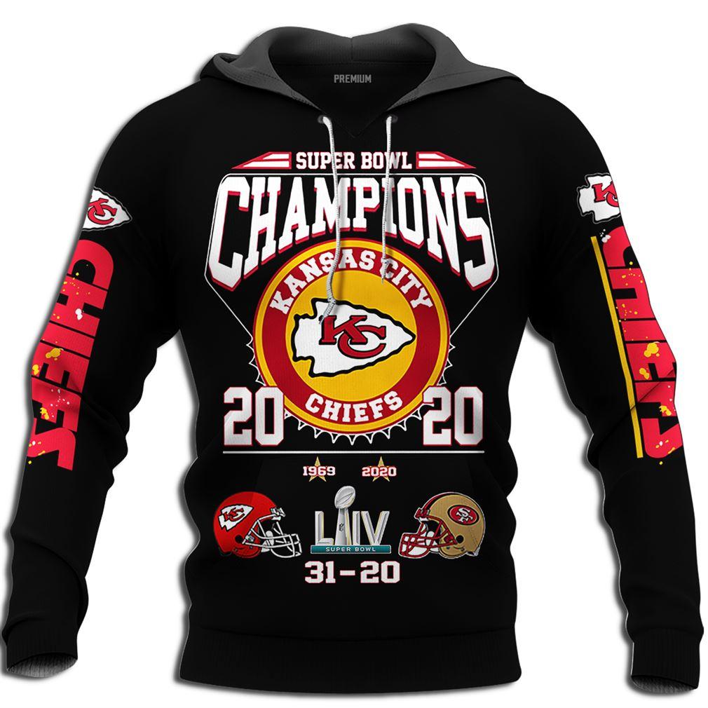 Kansas City Chiefs 2020 Super Bowl Liv Champions Plus Size Up To 5xl