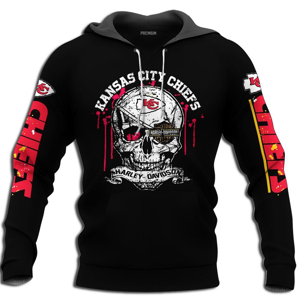 Skull Kansas City Chiefs Harley Davidson Size Up To 5xl