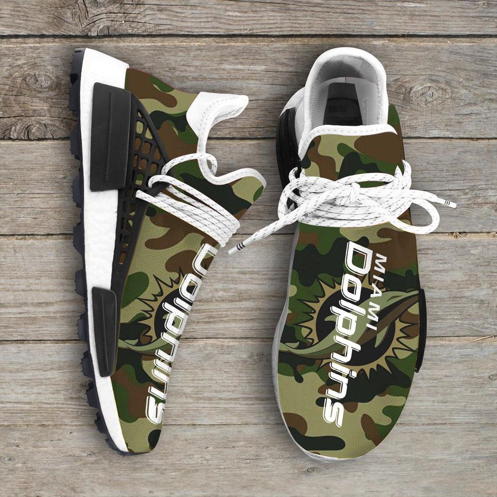 Camo Camouflage Miami Dolphins Nfl Sport Teams Nmd Human Race Sneakers Sport Shoes Running Shoes