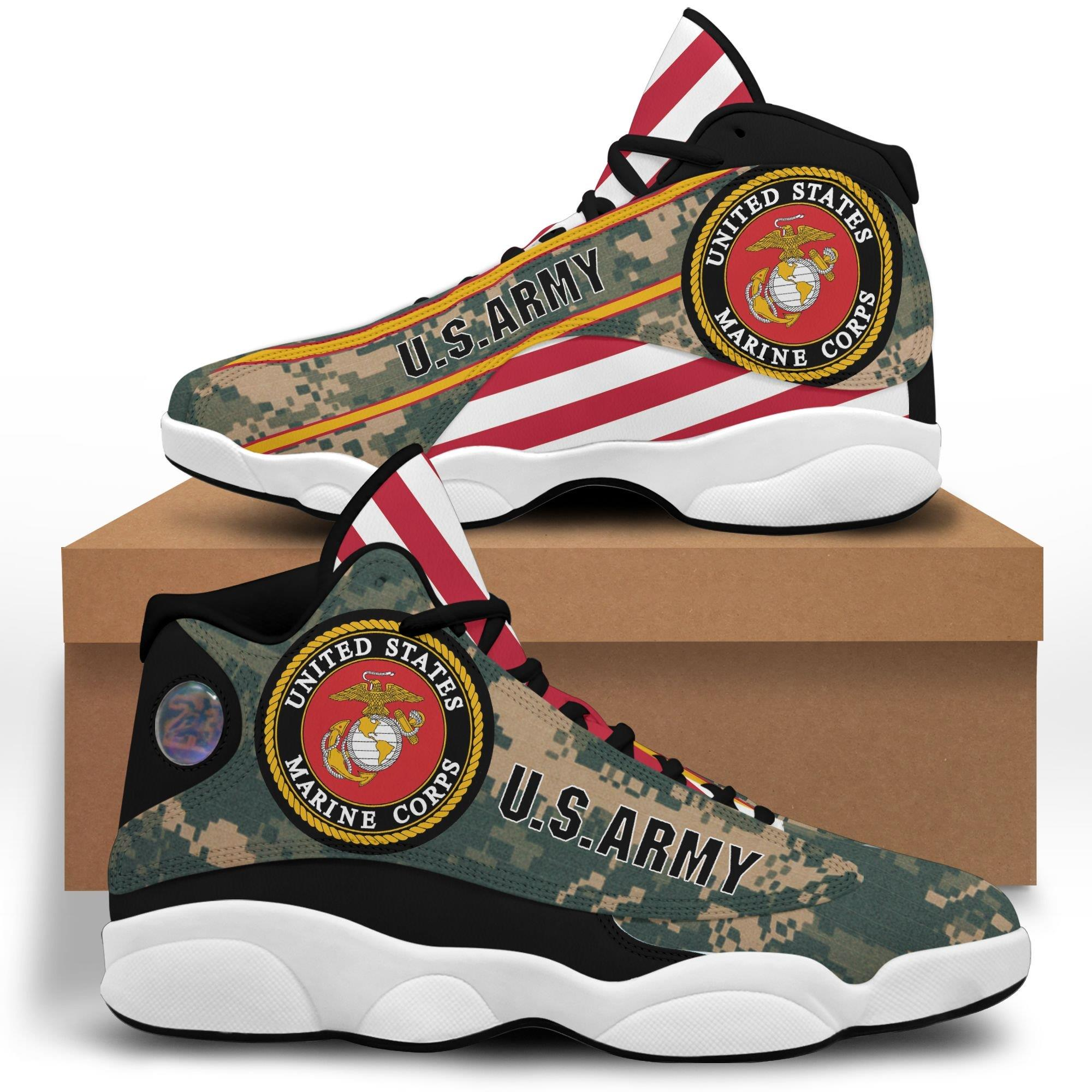 Us Army Air Jordan 13 Custom Sneakers Sport Running Plus Size