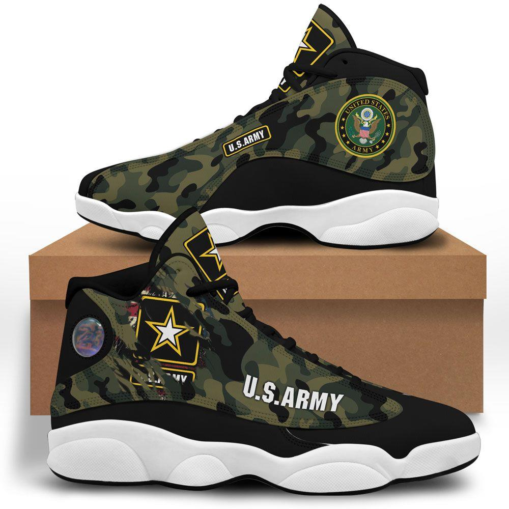 Us Army Air Jordan 13 Custom Sneakers Sport Shoes Plus Size