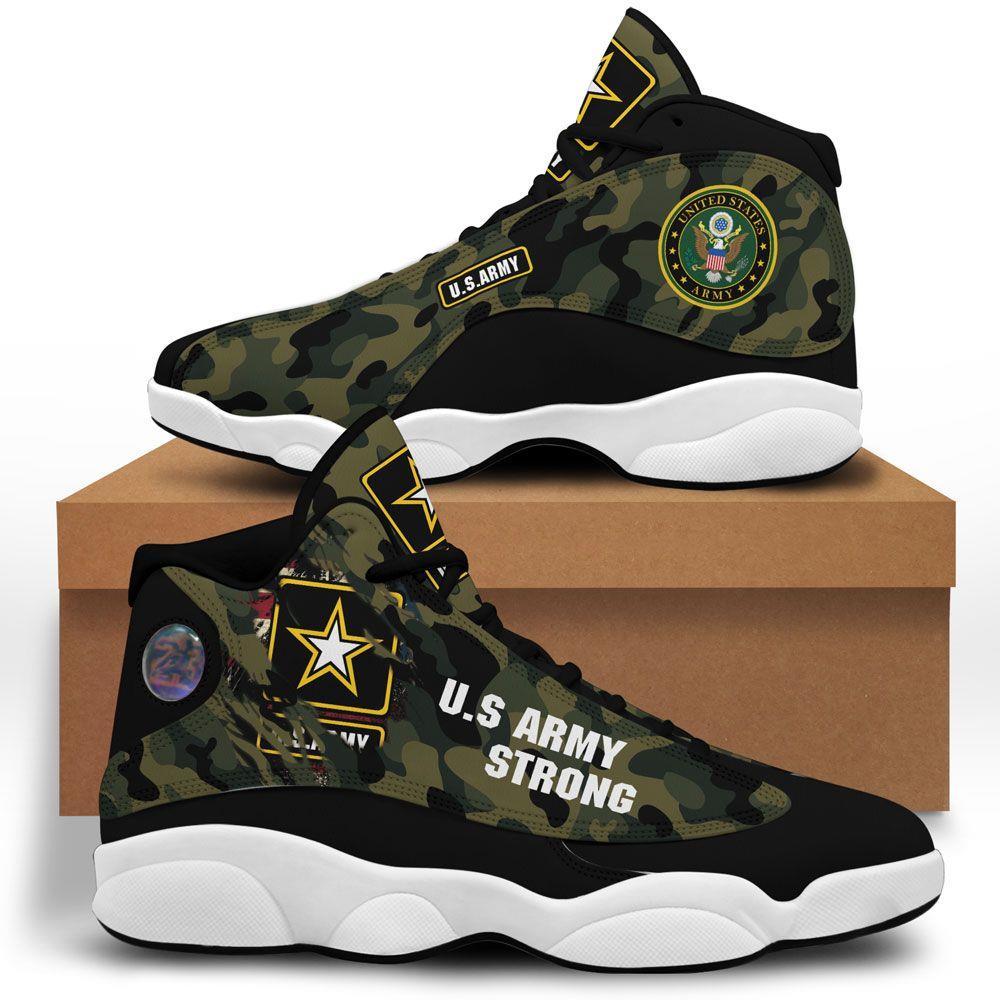 Us Army Strong Air Jordan 13 Custom Sneakers Sport Shoes
