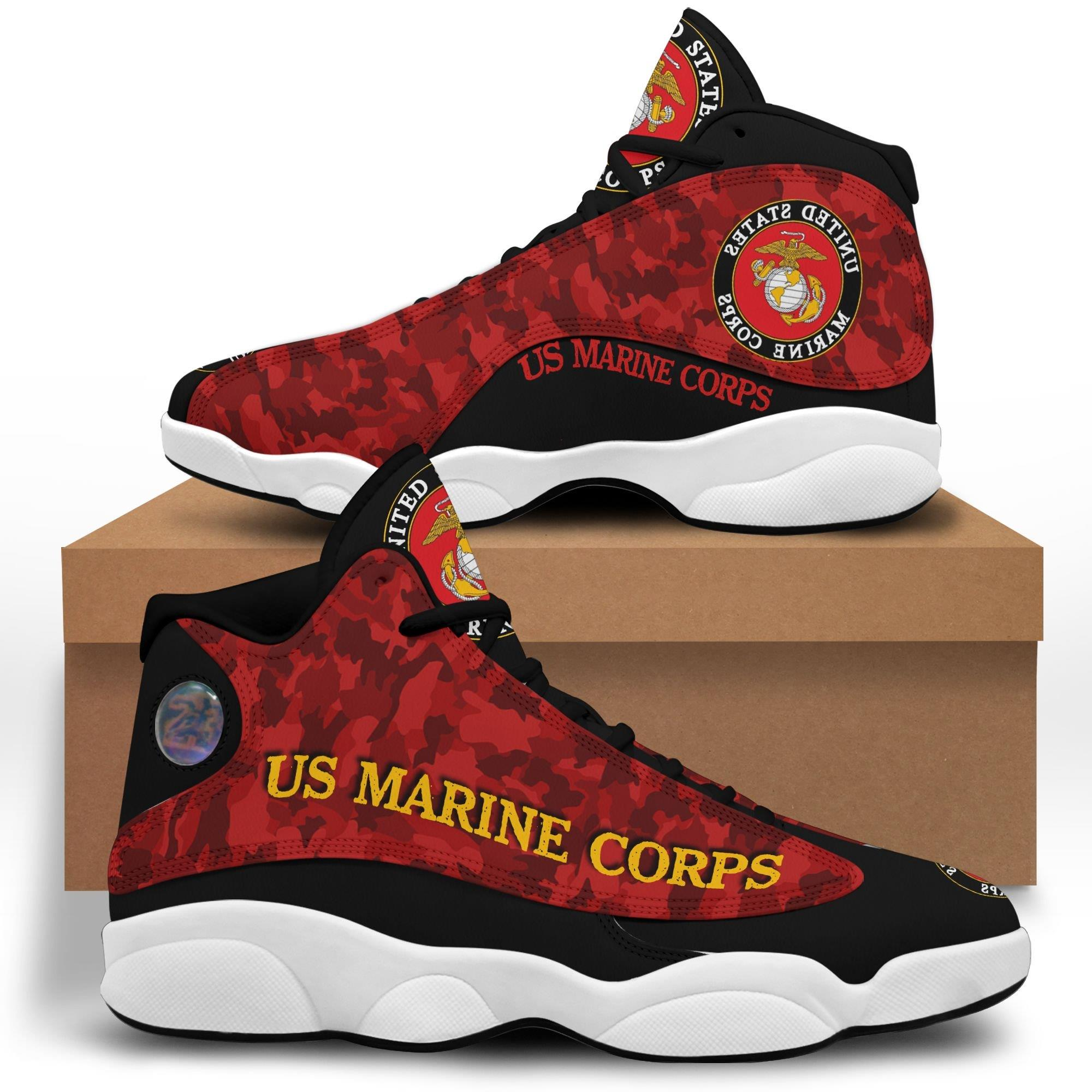 Us Marine Corps Air Jordan 13 Custom Sneakers Sport Shoes Full Size