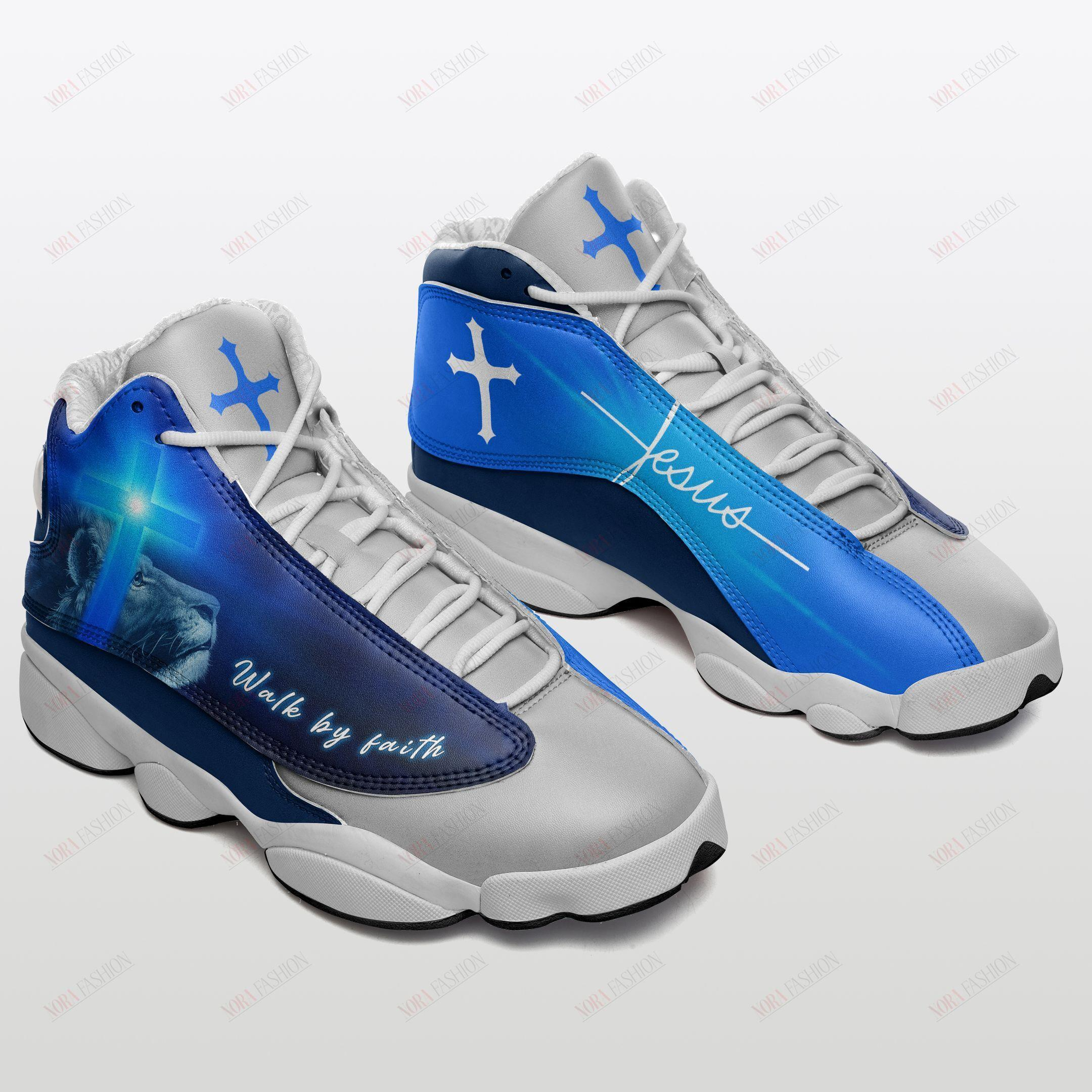 Walk By Faith Jesus Air Jordan 13 Sneakers Sport Shoes Full Size