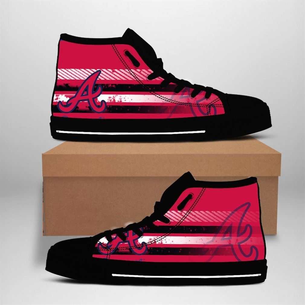 Atlanta Braves Mlb Baseball High Top Vans Shoes