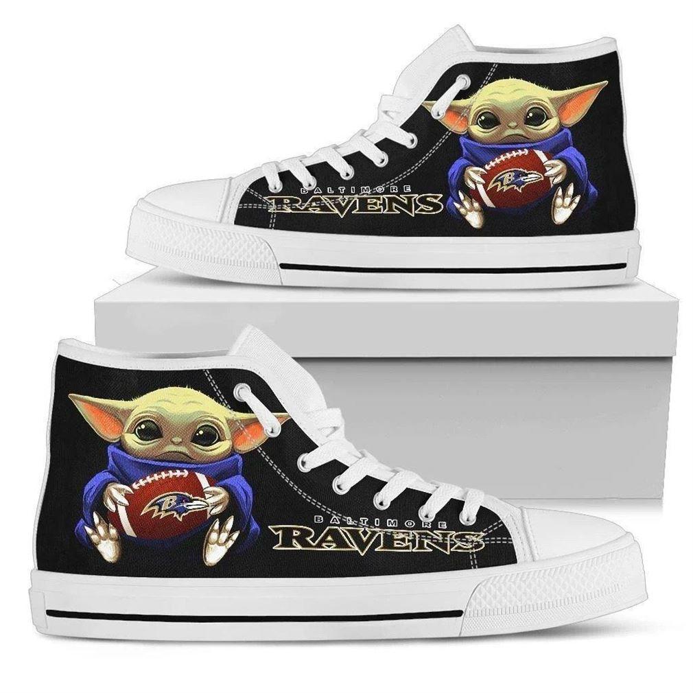 Baby Yoda Hug Ravens High Top Vans Shoes