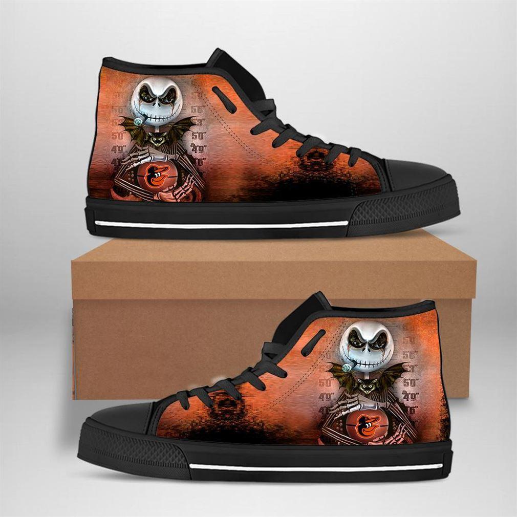 Baltimore Orioles Mlb Baseball Jack Skellington High Top Vans Shoes