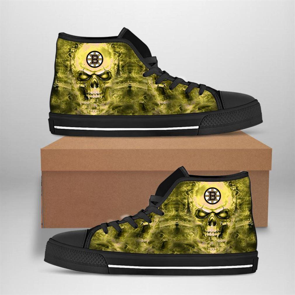 Boston Bruins Nhl Hockey Skull High Top Vans Shoes