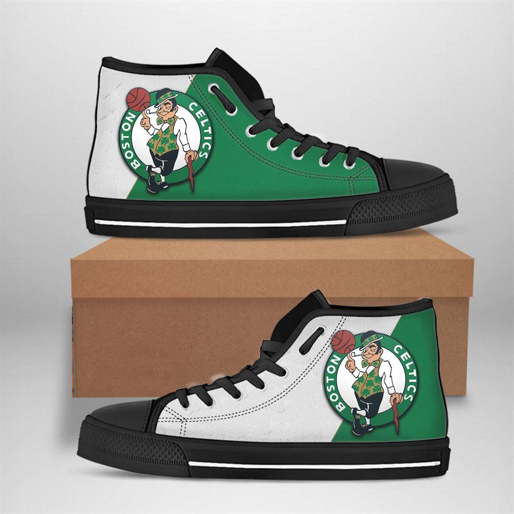Boston Celtics Nba Basketball High Top Vans Shoes
