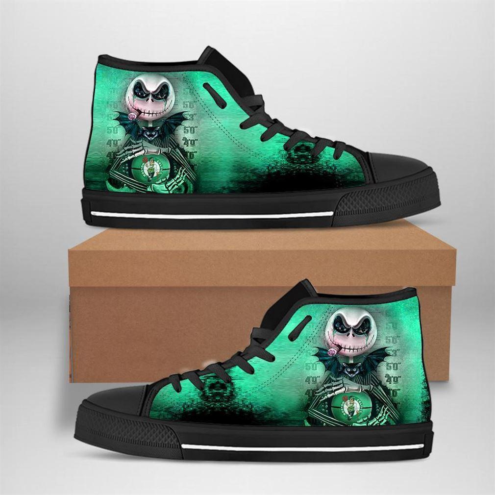 Boston Celtics Nba Basketball Jack Skellington High Top Vans Shoes