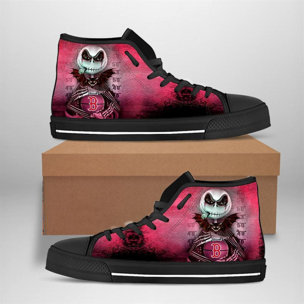 Boston Red Sox Mlb Baseball Jack Skellington High Top Vans Shoes