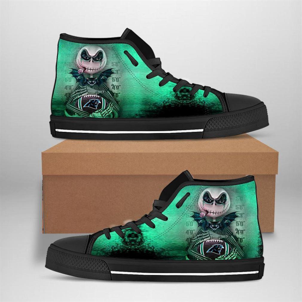 Carolina Panthers Nfl Football Jack Skellington High Top Vans Shoes