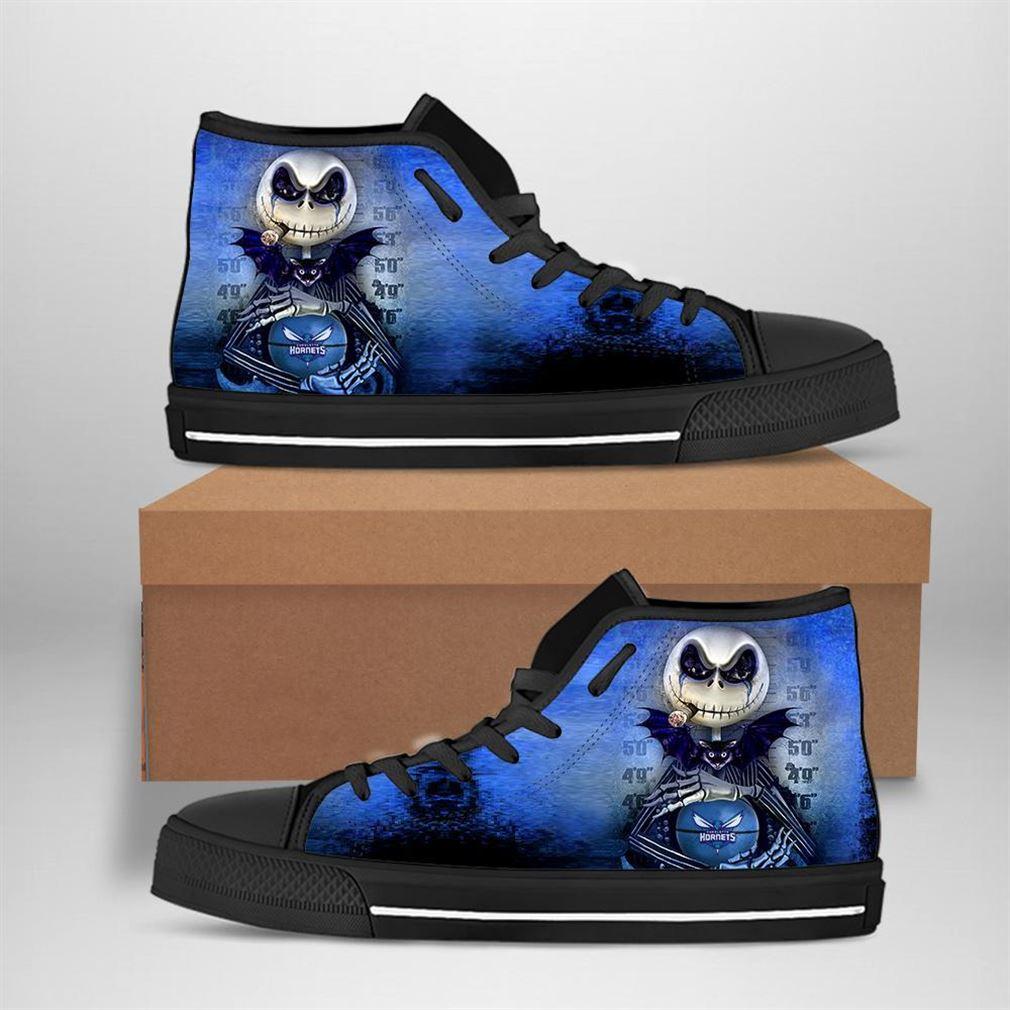 Charlotte Hornets Nba Basketball Jack Skellington High Top Vans Shoes