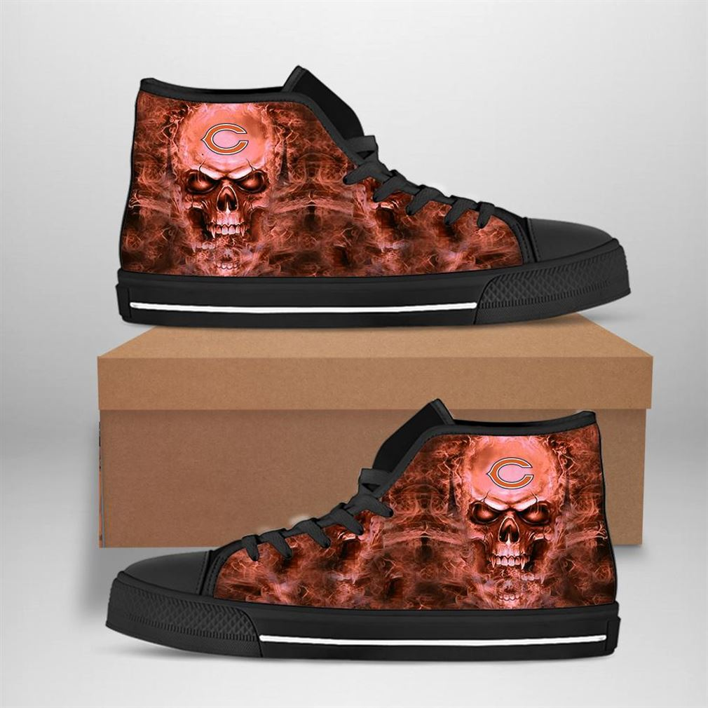 Chicago Bears Nfl Football Skull High Top Vans Shoes
