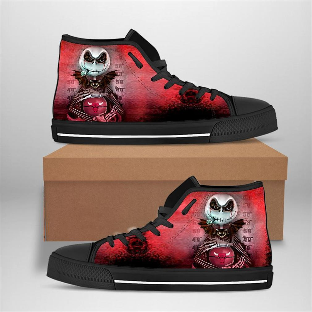 Chicago Bulls Nba Basketball Jack Skellington High Top Vans Shoes