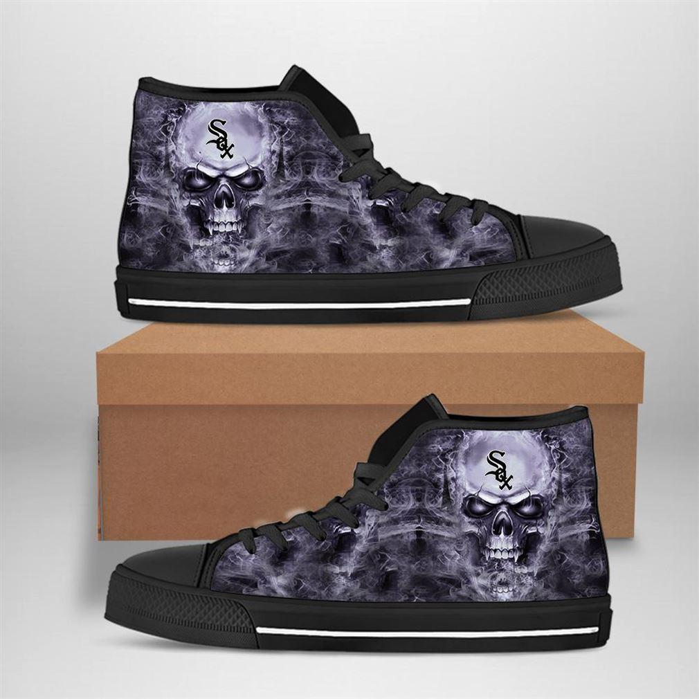 Chicago White Sox Mlb Baseball Skull High Top Vans Shoes