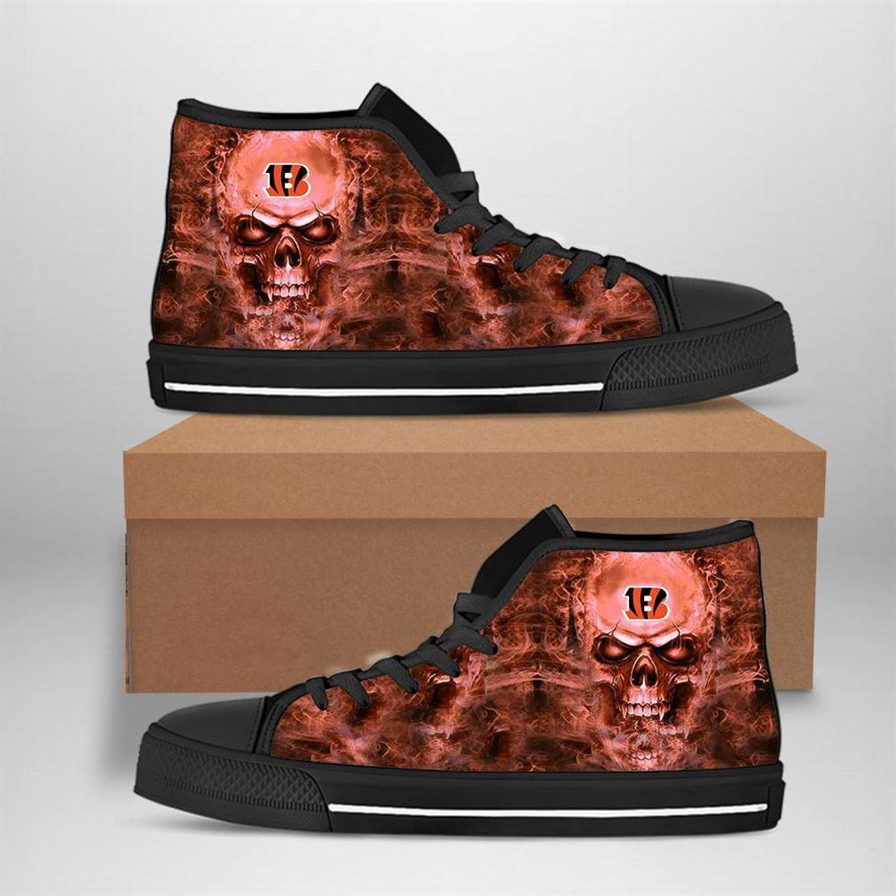 Cincinnati Bengals Nfl Football Skull High Top Vans Shoes