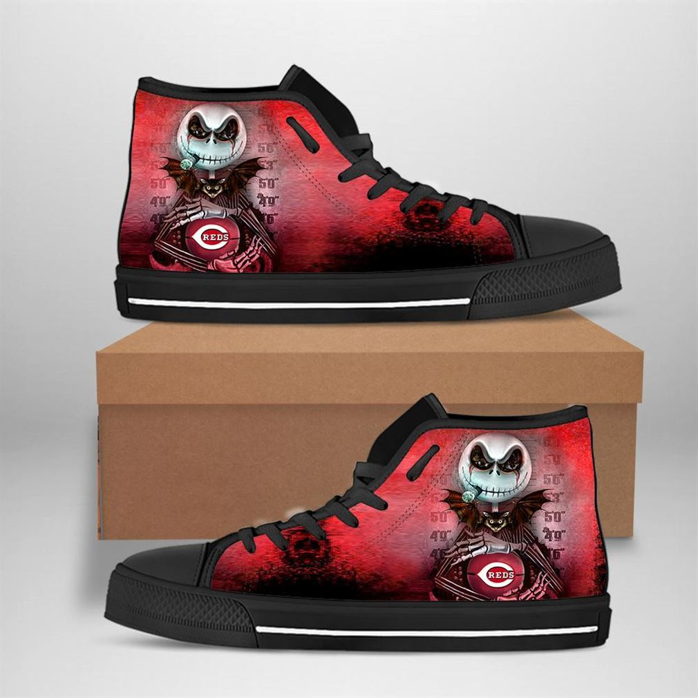 Cincinnati Reds Mlb Baseball Jack Skellington High Top Vans Shoes