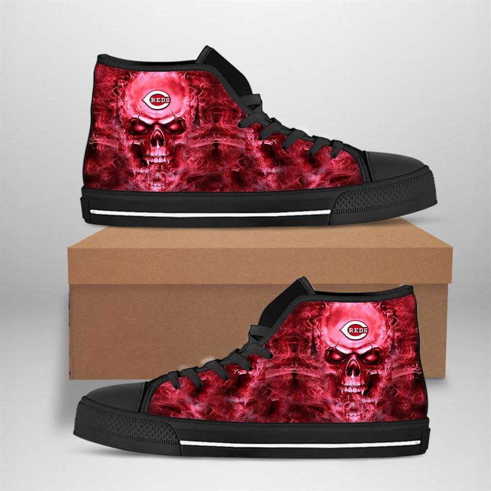 Cincinnati Reds Mlb Baseball Skull High Top Vans Shoes