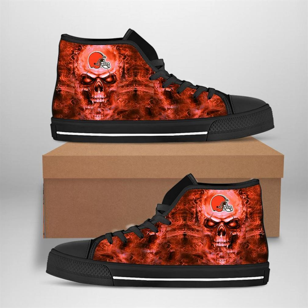 Cleveland Browns Nfl Football Skull High Top Vans Shoes