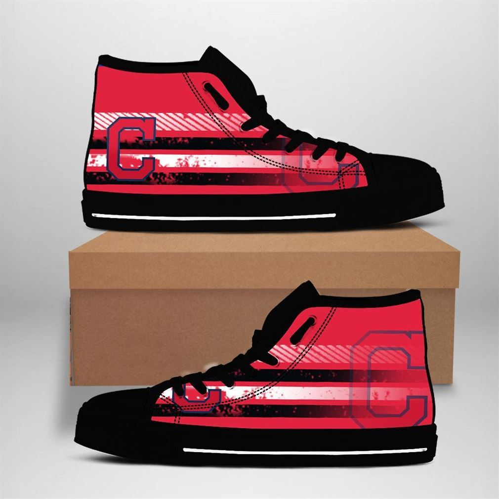 Cleveland Indians Mlb Baseball High Top Vans Shoes