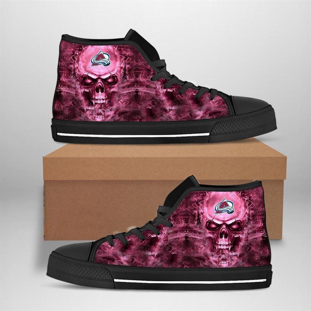 Colorado Avalanche Nhl Hockey Skull High Top Vans Shoes