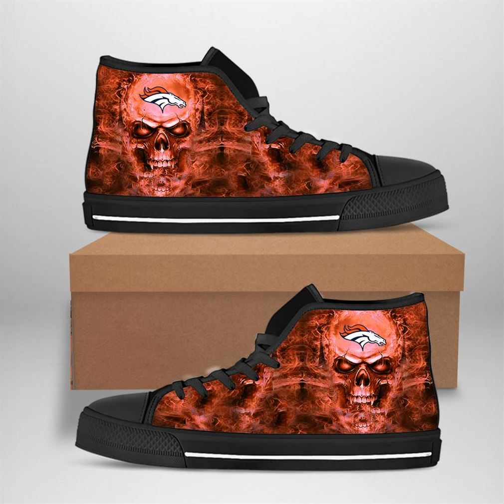 Denver Broncos Nfl Football Skull High Top Vans Shoes