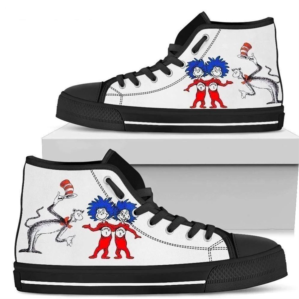 Dr Seuss And Thing 1 Thing 2 High Top Vans Shoes