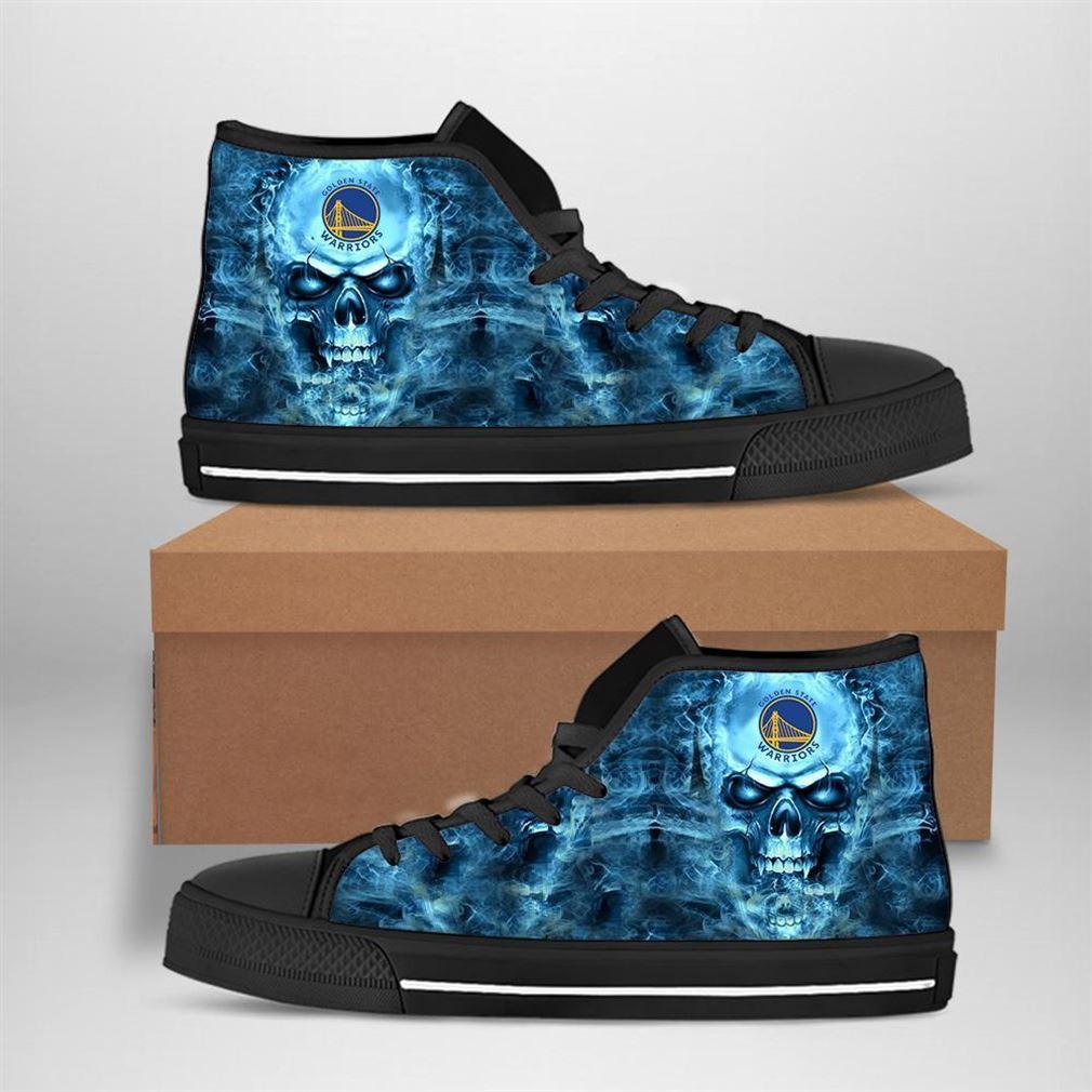 Golden State Warriors Nba Basketball Skull High Top Vans Shoes
