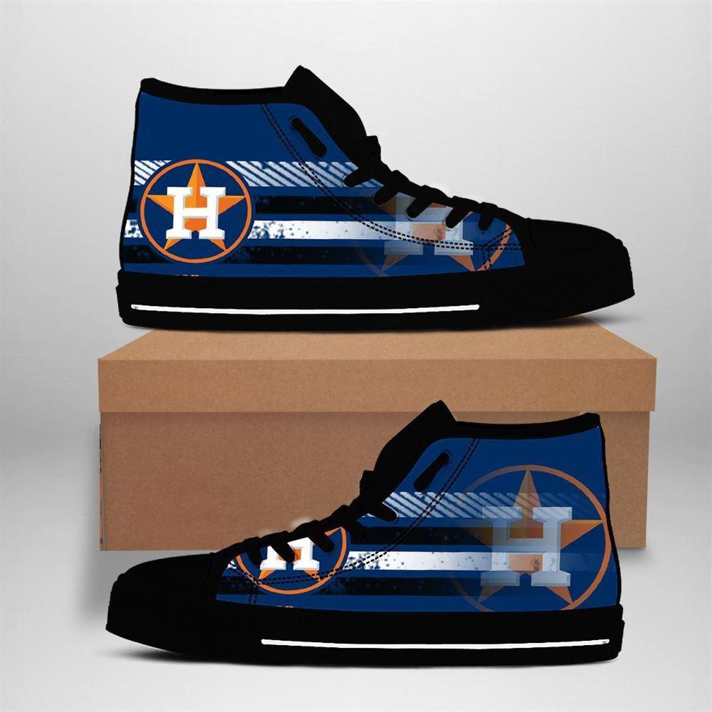 Houston Astros Mlb Baseball High Top Vans Shoes