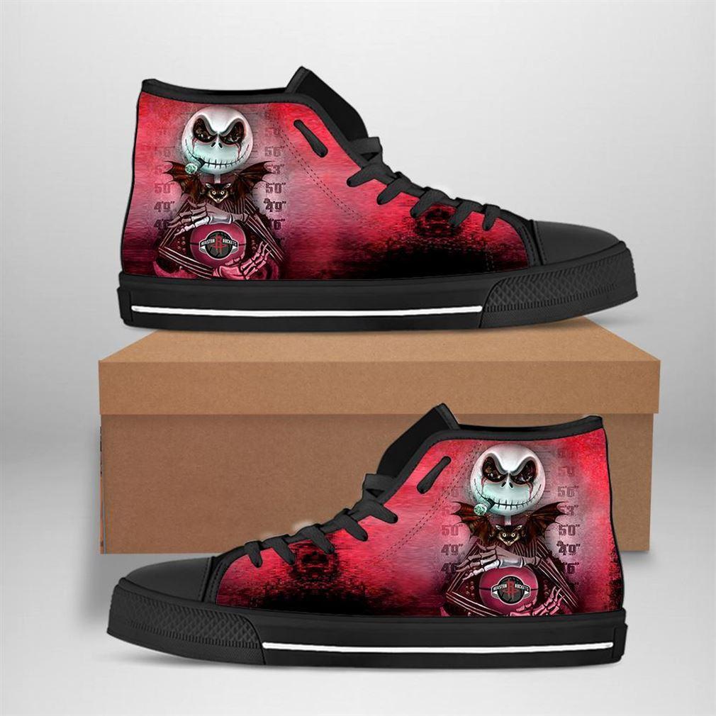 Houston Rockets Nba Basketball Jack Skellington High Top Vans Shoes