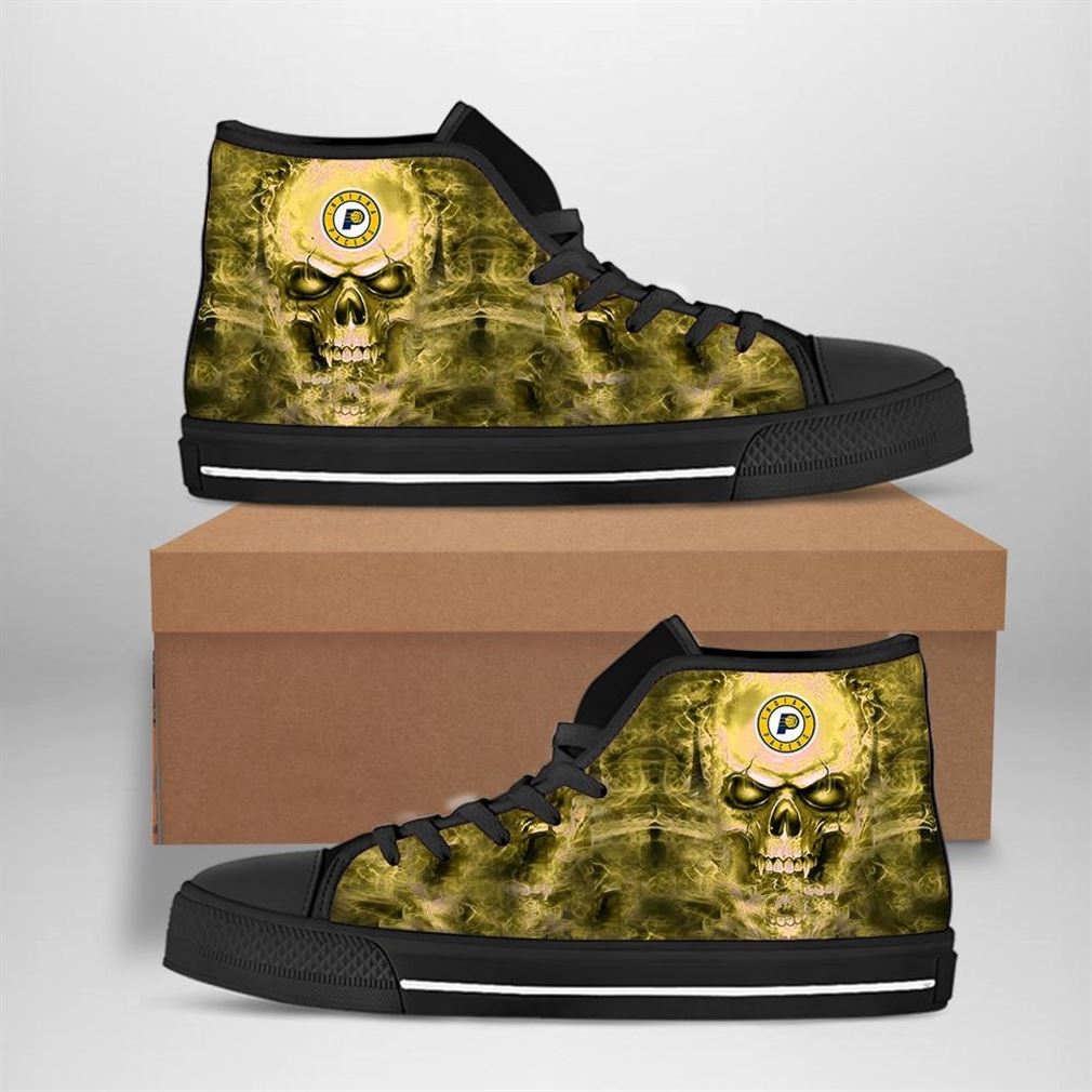 Indiana Pacers Nba Basketball Skull High Top Vans Shoes
