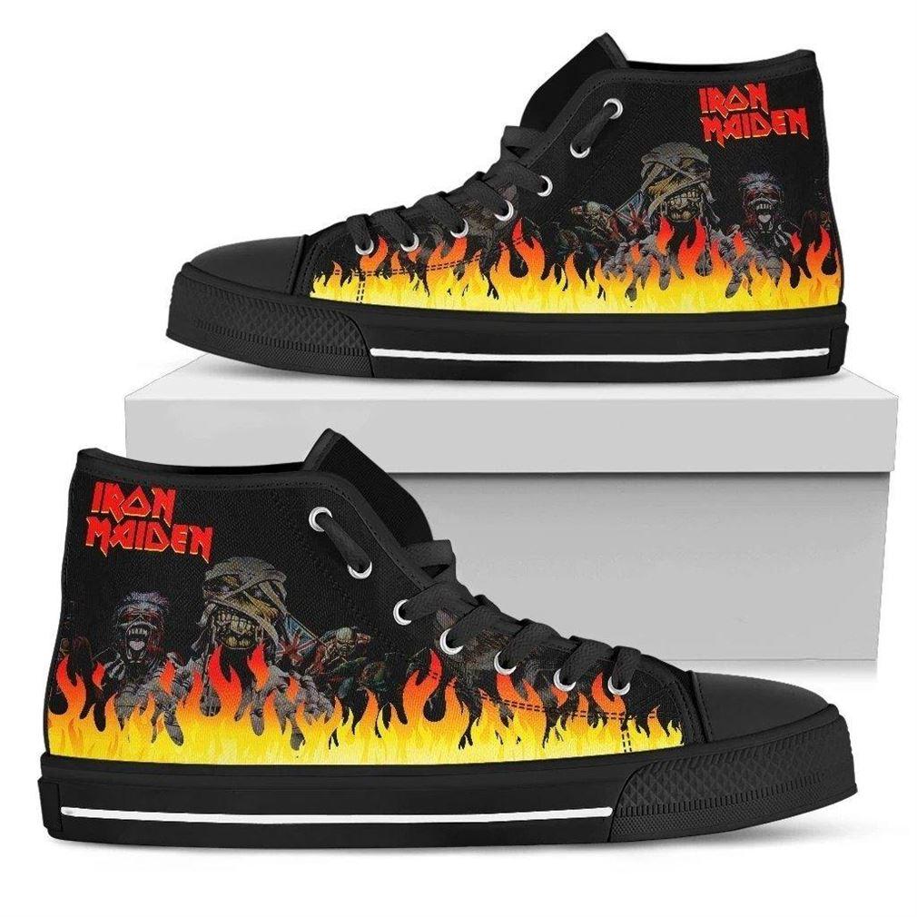 Iron Maiden Rock Band High Top Vans Shoes