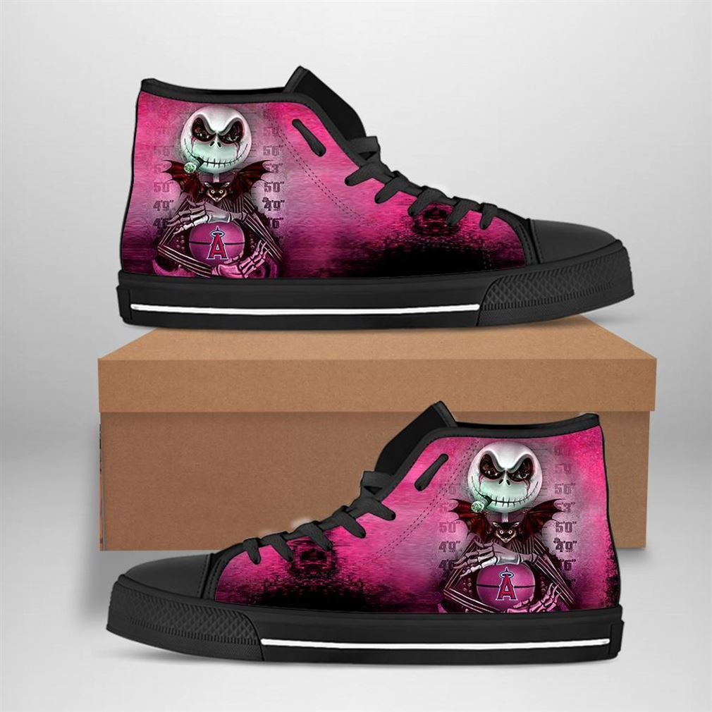 Los Angeles Angels Mlb Baseball Jack Skellington High Top Vans Shoes
