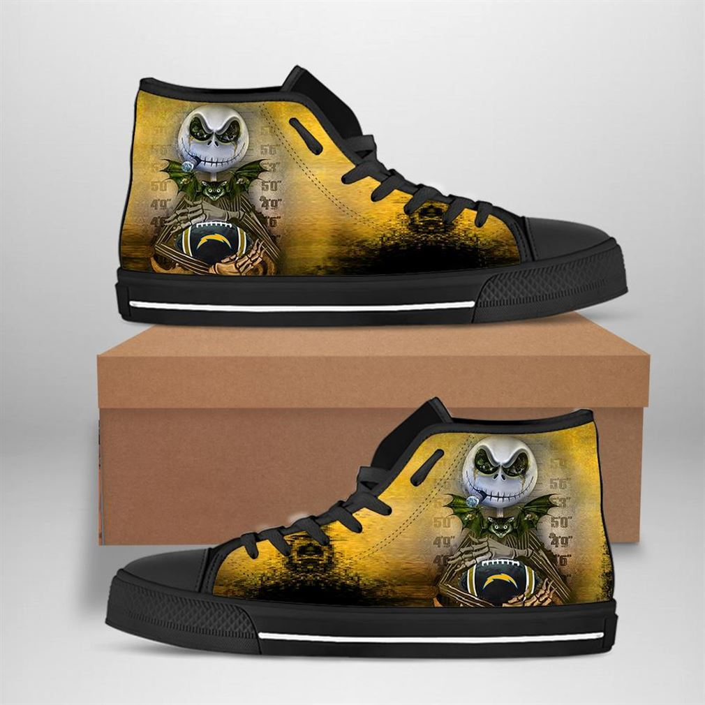 Los Angeles Chargers Nfl Football Jack Skellington High Top Vans Shoes