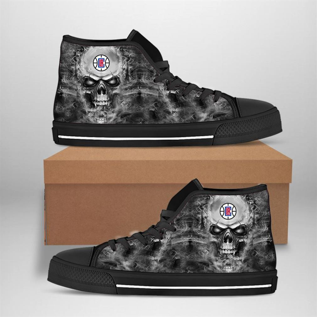 Los Angeles Clippers Nba Basketball Skull High Top Vans Shoes