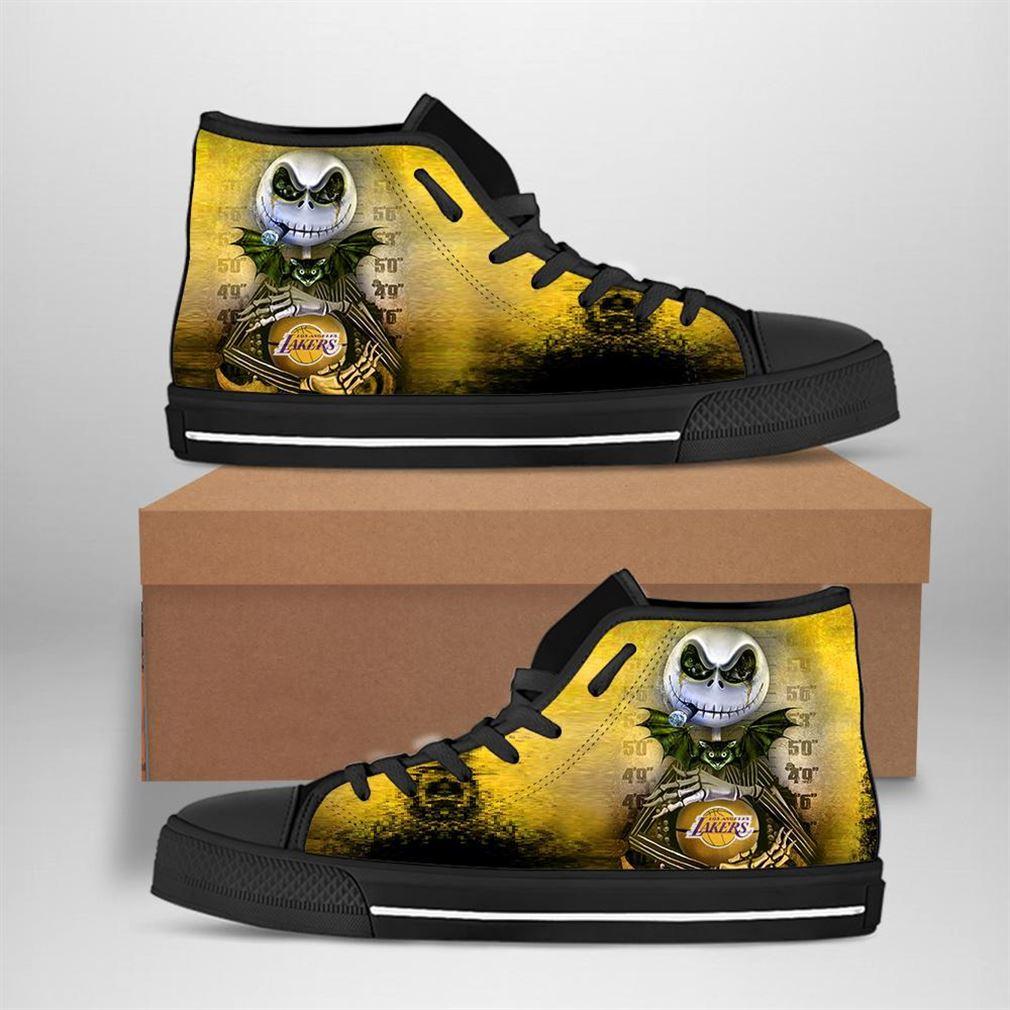 Los Angeles Lakers Nba Basketball Jack Skellington High Top Vans Shoes