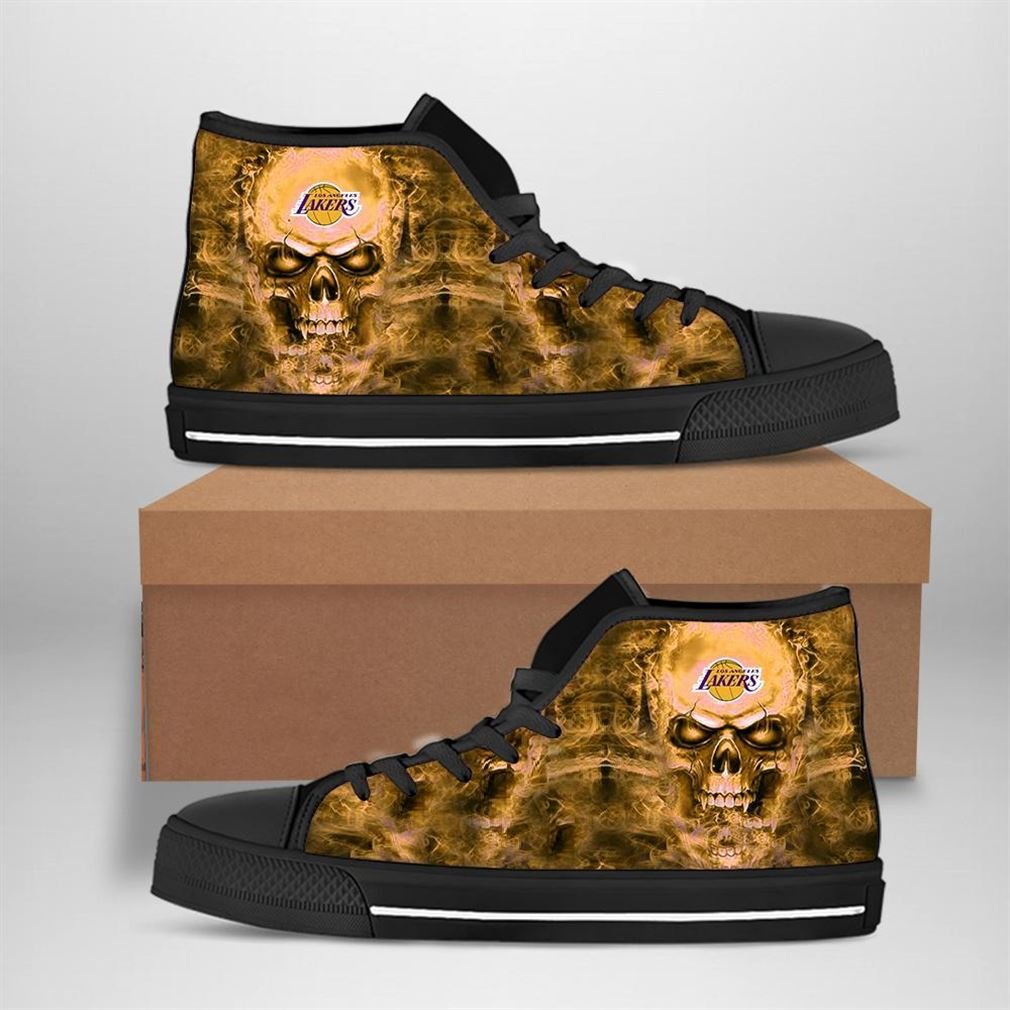 Los Angeles Lakers Nba Basketball Skull High Top Vans Shoes