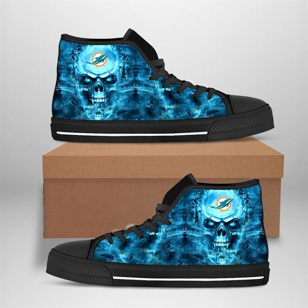 Miami Dolphins Nfl Football Skull High Top Vans Shoes