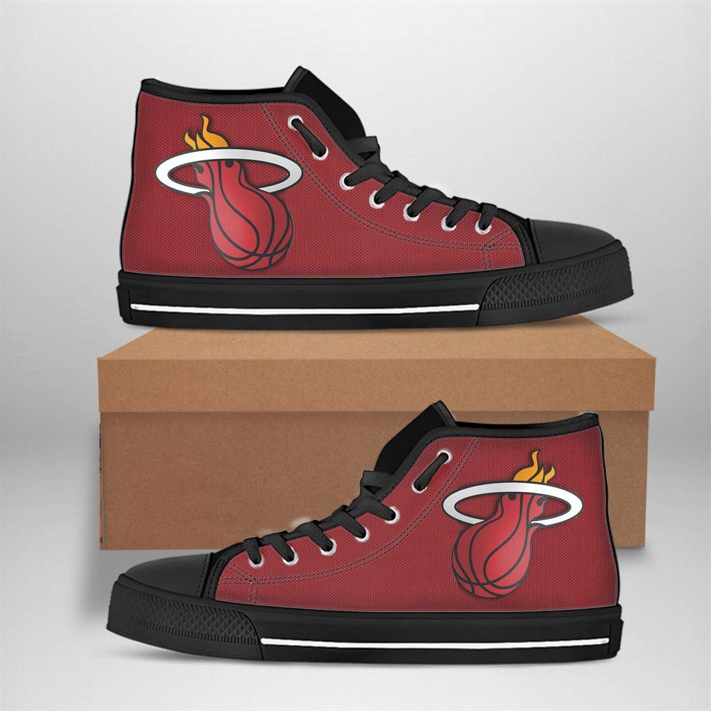 Miami Heat Nba Basketball High Top Vans Shoes