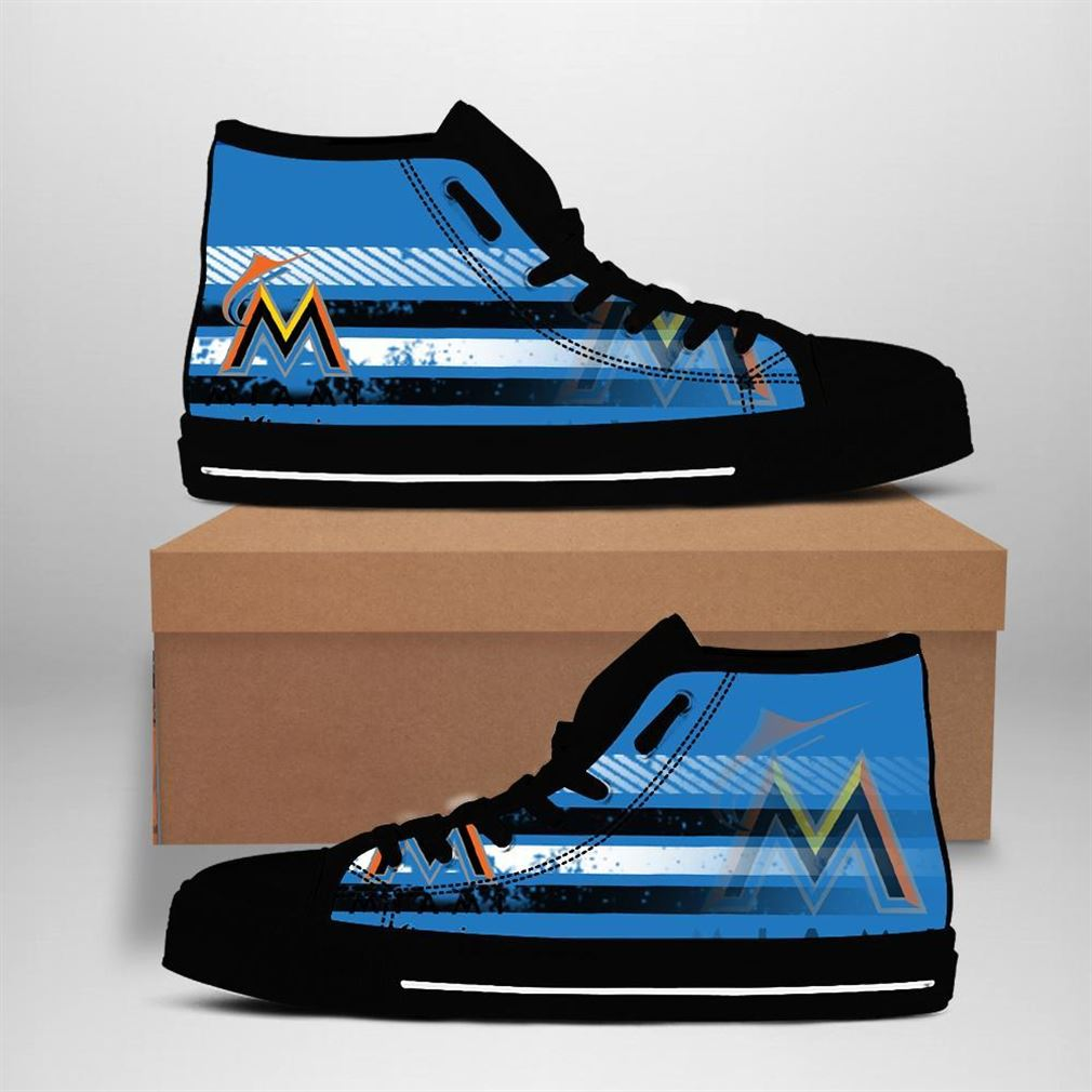 Miami Marlins Mlb Baseball High Top Vans Shoes