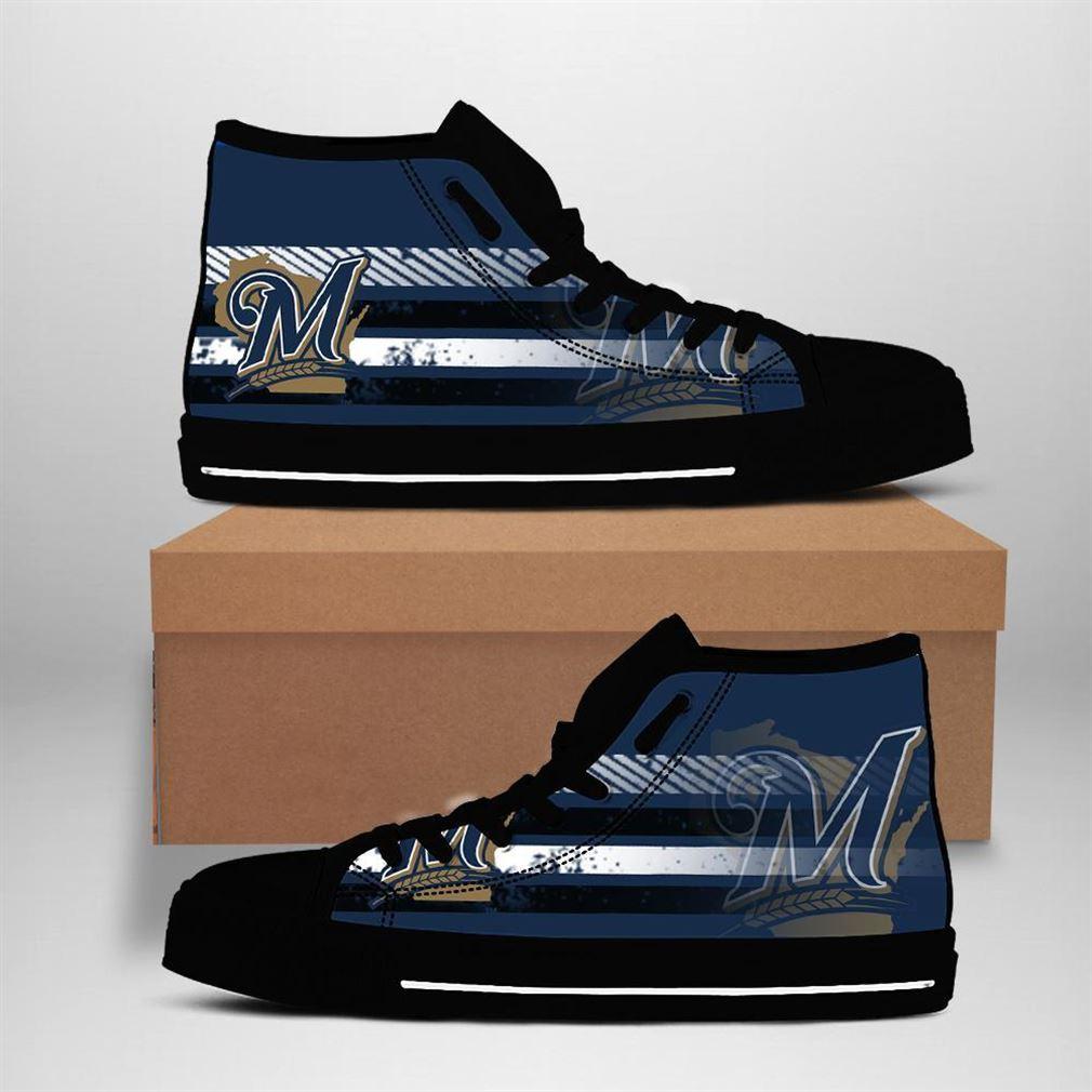 Milwaukee Brewers Mlb Baseball High Top Vans Shoes
