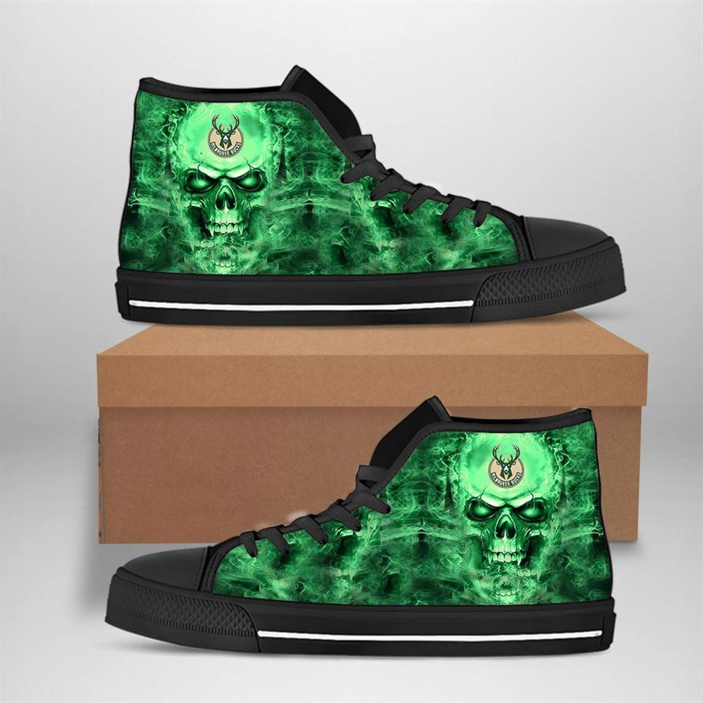 Milwaukee Bucks Nba Basketball Skull High Top Vans Shoes
