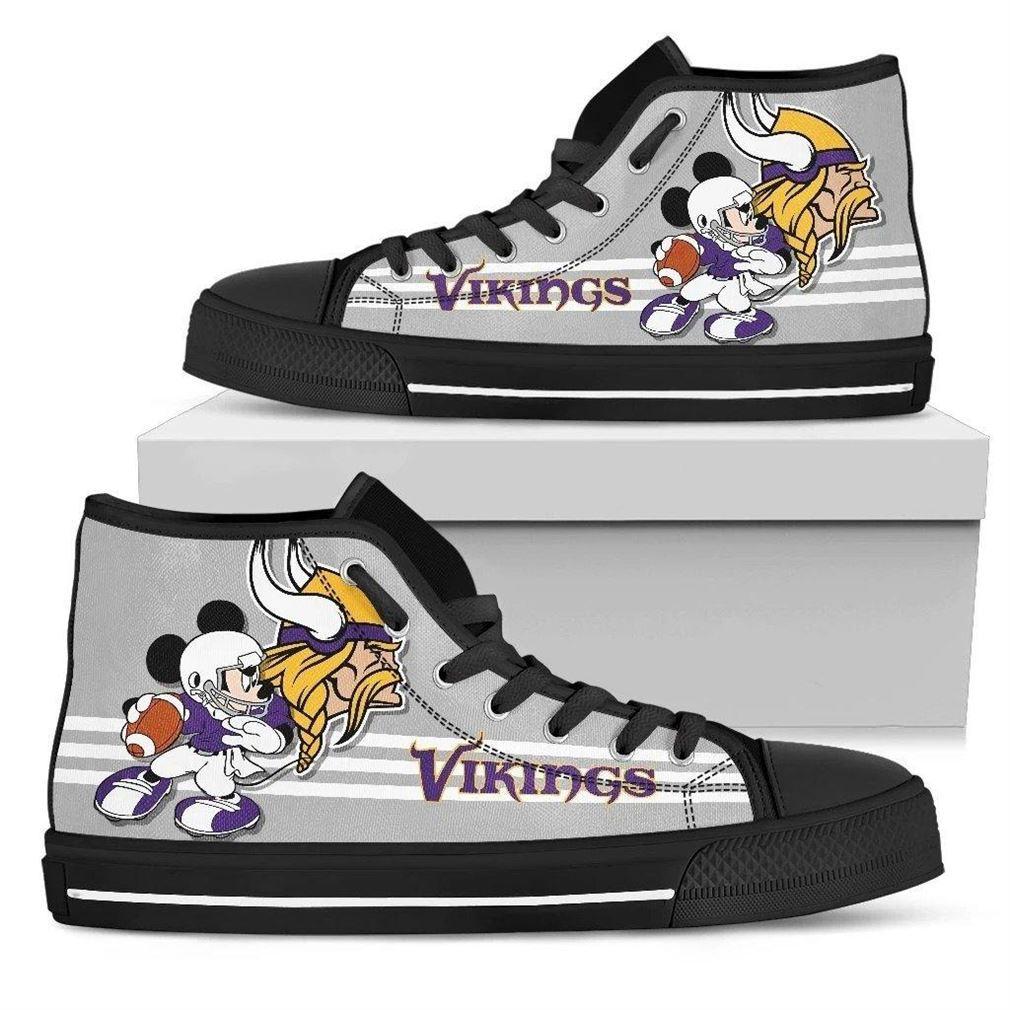 Minnesota Vikings Nfl Football High Top Vans Shoes